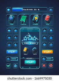 Set of elements for mobile 3d games. Icons and buttons on a dark background. Isolated vector graphic.