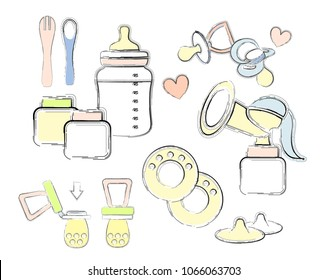 A set of elements on the theme of baby food. Bottle with a pacifier, spoon. fork. breast pump, dummy, containers for storing milk or food,silicone nipple,Nipple formers for lactation. Hand drown.