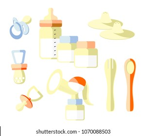 A set of elements on the theme of baby food. Bottle with a pacifier, spoon. fork. breast pump, dummy, containers for storing milk or food,silicone nipple,Nipple formers for lactation. flat.