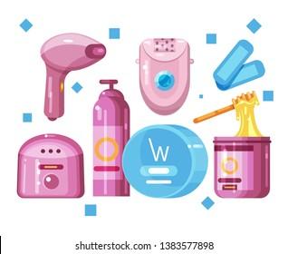 Set of elements  on the topic of hair removal. Epilator, sugaring paste, shaving foam, laser epilator, wax epilation, wax, wax heating apparatus. Flat Vector Illustration