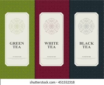 Set of elements packages style for tea - white,black and green tea. vector design