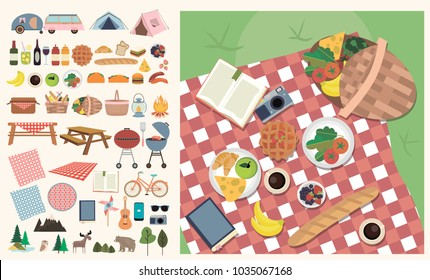 Set of elements for picnic. Summer picnic on meadow with food and drink. Editable vector illustration