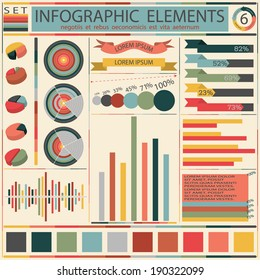 Set elements of retro infographics. Vector illustration
