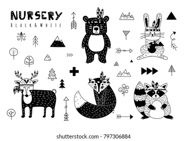 Set of elements in scandinavian style for nursery. Black and white. Vector illustration. Animals