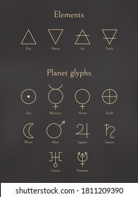 Set of elements signs and planet glyphs. Collection of air, fire, earth, water icons and planets symbols in outline style isolated on black background. Vector design elements for logotype or print