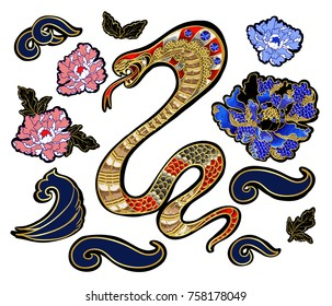 Set of elements snake and peony patch embroidery with sequins.