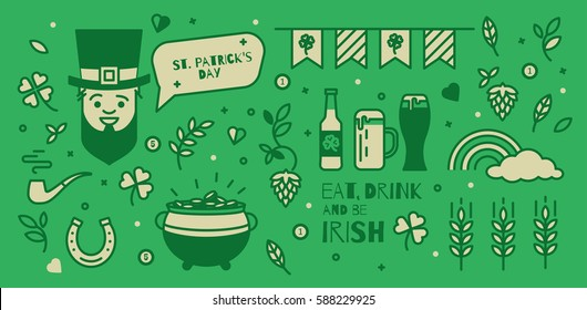 A set of elements for St. Patrick's Day. Simple design thin line. Icons can be used in advertising, poster, booklet, cover the ticket.