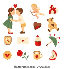 Set of elements for st. Valentine's day. Boy, girl, cupid, sweet box, chocolate, teddy bear, toast, love letter, cupcake, umbrella, cookie, rose, mug, ring in box. Isolated on white background.