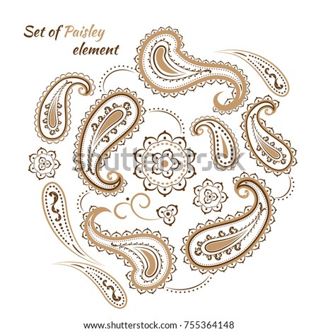 A set of elements in the style of Paisley, collected in a circular pattern. Oriental motifs for patterns in ocher tones.