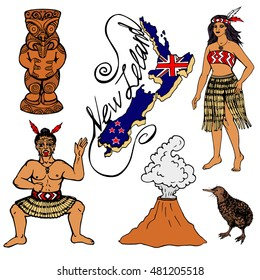 Set of elements of traditional New Zealand