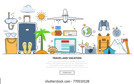 A set of elements for travel and vacations. Line design vector illustration