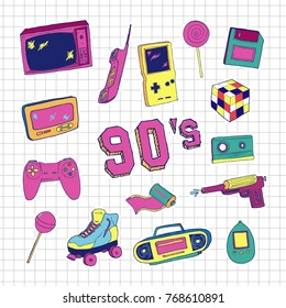 Set of elements in trendy 80s-90s hand-drawn style