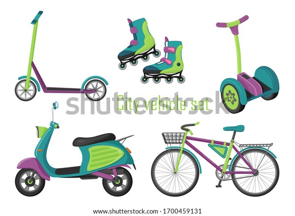 Set of elements of urban transport. Flat style. Eco-friendly vehicles for walking, recreation, sports, city transportation, food and goods delivery. Color vector illustration. Isolated on white