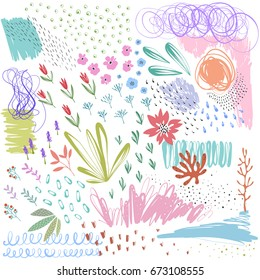 Set of scribblevectortexturesanddoodlefloral elements. Use for posters, art prints, greeting and business cards, banners, labels, book illustrations and other graphic designs.