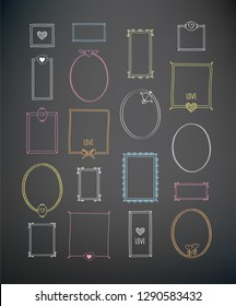 Set of elements for Valentine's, Mother's Day, birthday, wedding. Hand drawn vintage frames with chalk on the blackboard. Doodles, sketch for your design. Vector illustration.