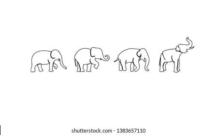 set elephant black white outline logo icon designs vector illustration sign silhouette
