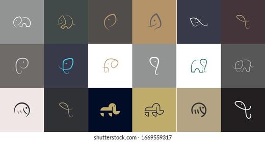 Set of Elephant Logo Design with modern concept. Icon elephant vector