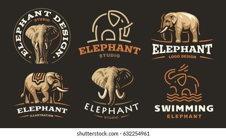 Set elephant logo - vector illustration, emblem design on dark background