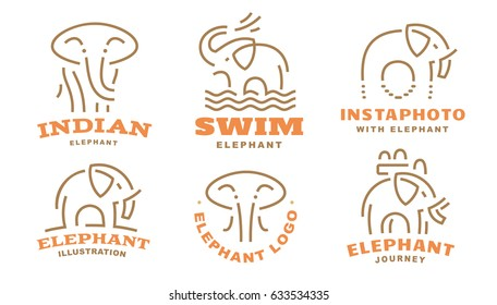 Set elephant logo - vector illustration, emblem design
