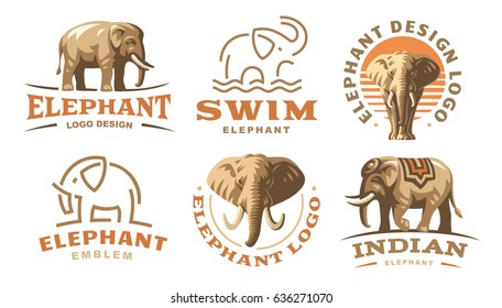 Set elephant logo - vector illustration, emblem design.