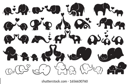 Set of elephants with baby elephant. Collection of family elephants with hearts. Logo. Love to the animals. Vector illustration for the zoo.