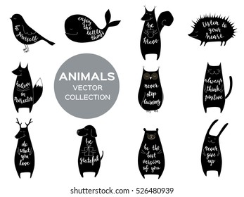 Set of eleven cute animals with motivation phrases. Brush hand lettering. Isolated vector illustration