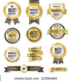 Set of eleven golden vector Commercial Labels and Ribbon templates. Vector file is organized in layers to separate Graphic elements from Text and Shadows.