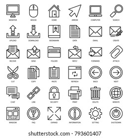 set of email connection icon, isolated on white background