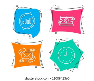 Set of E-mail, Copywriting notebook and Update data icons. Clock sign. Communication by letters, Writer laptop, Sales chart. Time or watch.  Flat geometric colored tags. Vivid banners. Vector