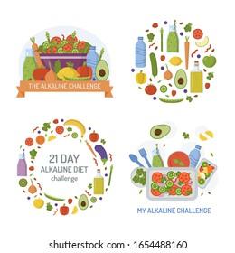 Set of emblems for alkaline challenge. Diet concept. Promotional products. Flat design. Vector illustration.