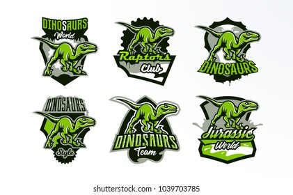 A set of emblems, badges, stickers, logos of dinosaur hunting. Predator Jurassic, a dangerous beast, an extinct animal, a mascot. Lettering, shield, print. Vector illustration