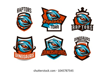 A set of emblems, badges, stickers, logos of dinosaur eyes. A look of a dangerous beast, a predator of the Jurassic period, an extinct animal. Lettering, shield, printing. Vector illustration
