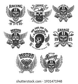 Set of the emblems with bearded skull in racer helmet with wings. Design element for logo, label, sign, emblem, poster, t shirt. Vector illustration