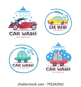 Set of emblems of a car wash. Vector illustration in cartoon style. The car in foam and water droplets, the water hose.