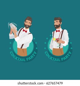 Set of emblems Cocktail Party. Cheerful and mustachioed bartender hipster with suspenders and red bow tie prepares cocktail and offers it to the viewer. Vector illustration