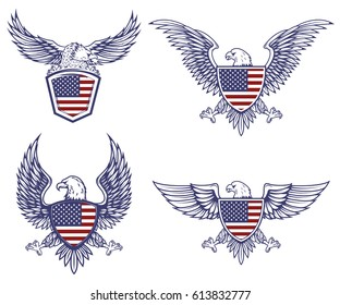 Set of the emblems with eagles on usa flag background. Design elements for logo, label, emblem, sign. Vector illustration