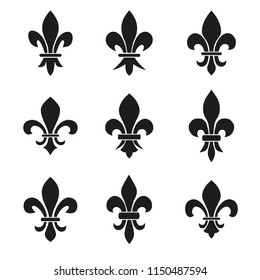 Set of emblems Fleur de Lys symbols