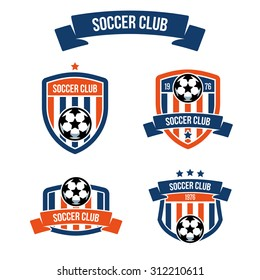 Set of emblems for football clubs with the inscription on the ribbon. Soccer ball