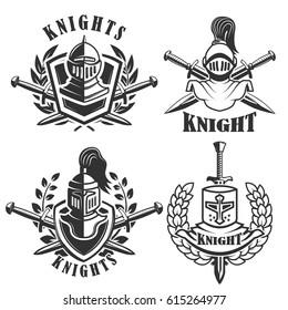 Set of the emblems with knights helmets and swords. Design elements for logo, label, badge, sign. Vector illustration