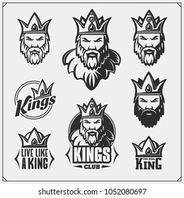 Set of emblems and labels with bearded king in a crown.