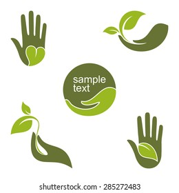 Set of emblems and labels with human hands and green leaves for ecology, gardening, natural beauty and health design