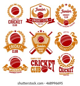 Set of Emblems, Logos and Labels on Cricket Theme and for Cricket Club. Colored Vector Illustration. Isolated on White Background.