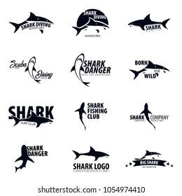 Set Emblems or logos with Shark. Vector illustration