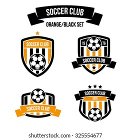 Set of emblems orange/black color for football clubs with the inscription on the ribbon. Soccer ball