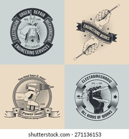 A set of emblems for repair workshop. Logo mechanics, electricians in the style of old-school stamp. The text can be easily removed.
