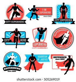 Set of emblems and stickers with flying jumping running superhero silhouettes and words defender and guardian isolated vector illustration