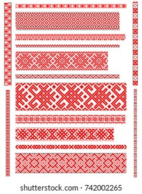 set of embroidered goods like handmade cross-stitch ethnic Ukraine pattern. Ukrainian national ornament decoration