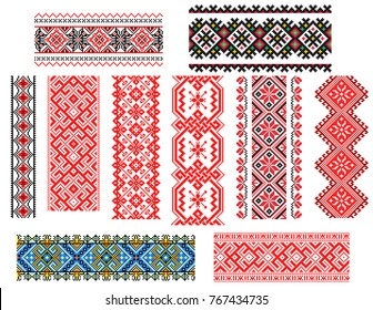 Set of embroidered old handmade cross-stitch ethnic Ukrainian patterns. Seamless ornament