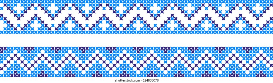 Set of embroidered patterns with a cross