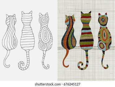 Set of Embroidery Patterns.  Cats.  Zentangle style. Vector Embroidery home decor, ornament for textile,  fashion, fabric pattern. Linen cloth texture.  Colorful Embroidery design pattern
